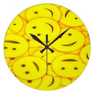 Cute happy faces wall clock