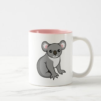 Cute Happy Grey Koala Drawing Two-tone Pink Mug