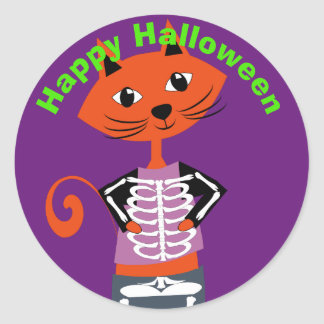 Cute  Happy Halloween Cat Classic Round Sticker
