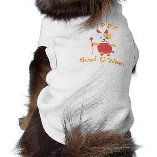Cute Happy Halloween Howloween Dog Devil Costume Shirt
