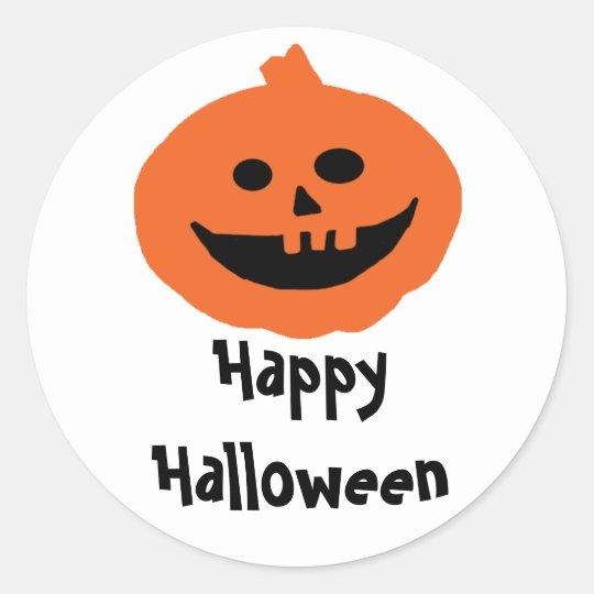Cute Happy Halloween Pumpkin Classic Round Sticker