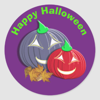 Cute  Happy Halloween Pumpkin Faces Classic Round Sticker