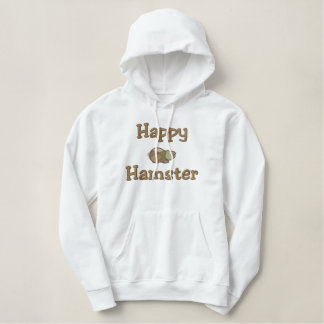 Cute Happy Hamster, Happy, Hamster Embroidered Hooded Sweatshirts