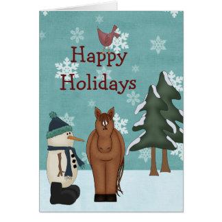 Cute Happy Holidays Horse and Snowman Christmas Card