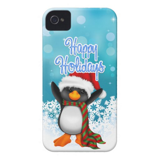 Cute Happy Holidays Penguin Blackberry Case