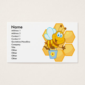 cute happy honey bee and honeycomb business card