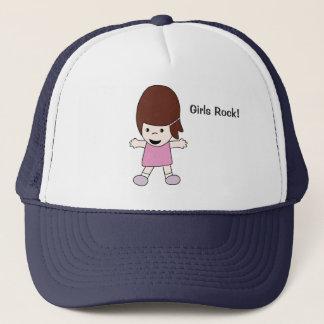 """Cute Happy Kawaii Girl """"Girls Rock!"""" Trucker Hat"""