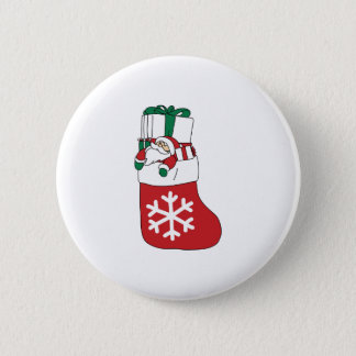 Cute Happy Little Santa Claus in the Sock 2 Inch Round Button