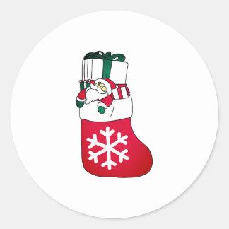 Cute Happy Little Santa Claus in the Sock Classic Round Sticker