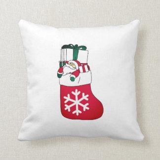 Cute Happy Little Santa Claus in the Sock Throw Pillow