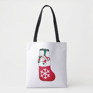 Cute Happy Little Santa Claus in the Sock Tote Bag
