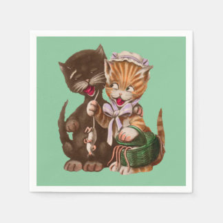 Cute Happy Male Female Cats Sharing Rats Paper Napkins