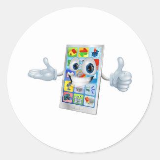 Cute happy mobile phone person classic round sticker
