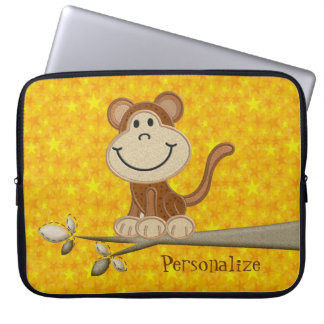 Cute Happy Monkey Personalized Laptop Sleeve