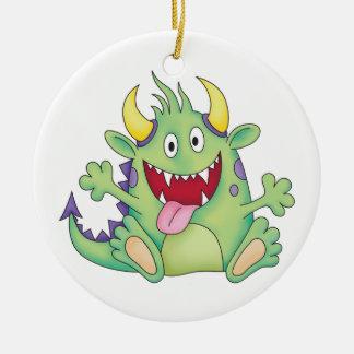 cute happy monster ceramic ornament