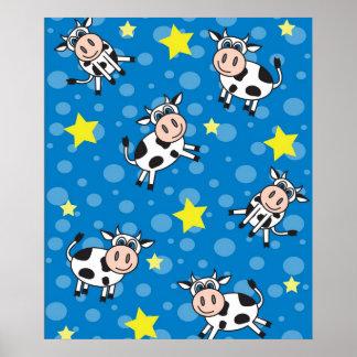 Cute Happy Mr. Cow Print - Blue