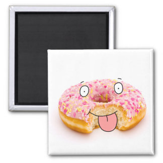 Cute happy pink doughnut character magnet
