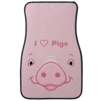 Cute Happy Pink Pig Face Car Mat