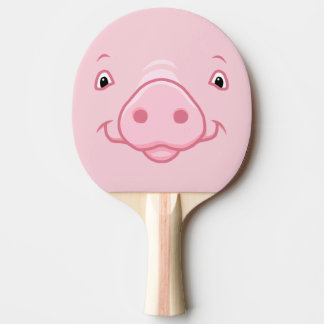 Cute Happy Pink Pig Face Ping Pong Paddle