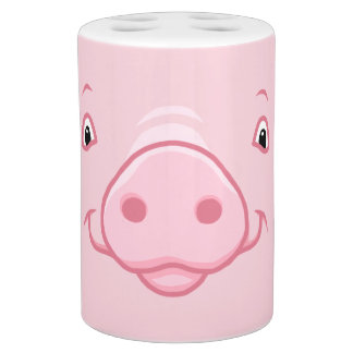 Cute Happy Pink Pig Face Soap Dispenser And Toothbrush Holder