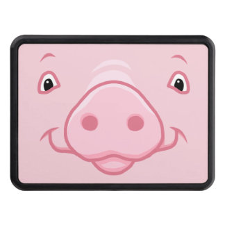Cute Happy Pink Pig Face Trailer Hitch Cover