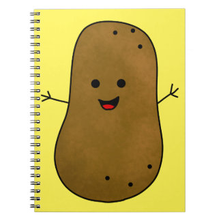 Cute Happy Potato, Yellow Background Spiral Note Book