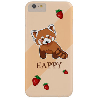 Cute Happy Red Panda With Strawberry Barely There iPhone 6 Plus Case