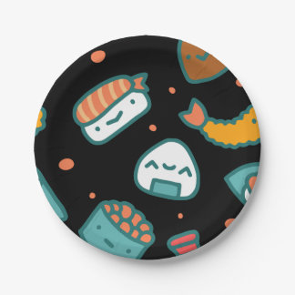 Cute happy seamless sushi pattern on black 7 inch paper plate