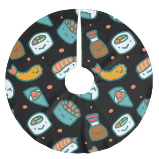 Cute happy seamless sushi pattern on black brushed polyester tree skirt