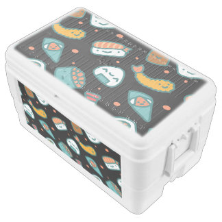 Cute happy seamless sushi pattern on black chest cooler