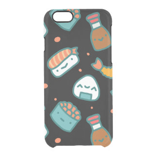 Cute happy seamless sushi pattern on black clear iPhone 6/6S case