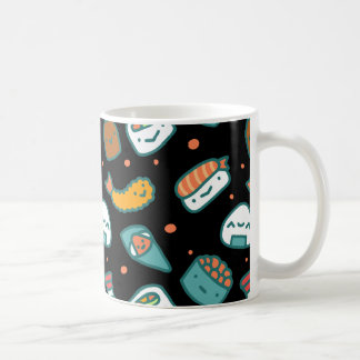 Cute happy seamless sushi pattern on black coffee mug