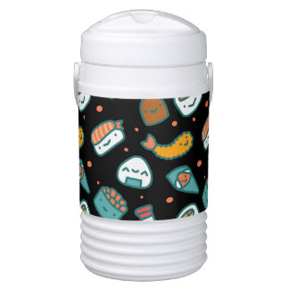 Cute happy seamless sushi pattern on black drinks cooler