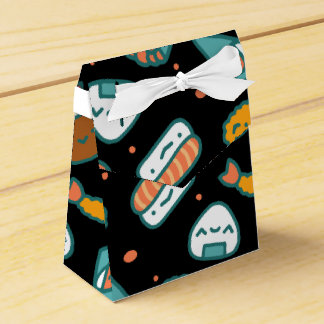 Cute happy seamless sushi pattern on black favor box
