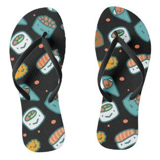 Cute happy seamless sushi pattern on black flip flops
