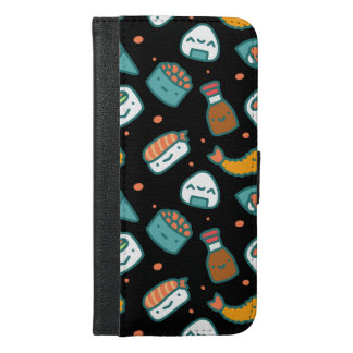 Cute happy seamless sushi pattern on black iPhone 6/6s plus wallet case