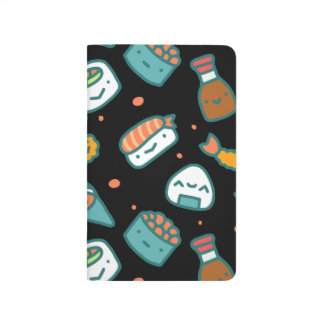 Cute happy seamless sushi pattern on black journal
