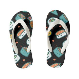 Cute happy seamless sushi pattern on black kid's flip flops