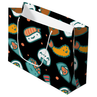 Cute happy seamless sushi pattern on black large gift bag