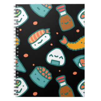 Cute happy seamless sushi pattern on black notebooks