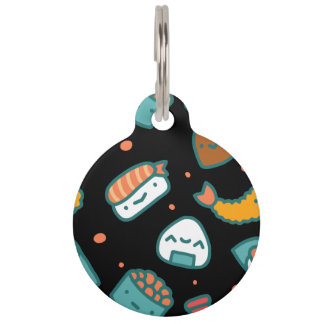 Cute happy seamless sushi pattern on black pet name tags