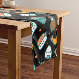 Cute happy seamless sushi pattern on black short table runner