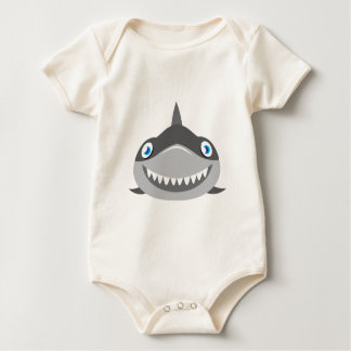 cute happy shark face baby bodysuit