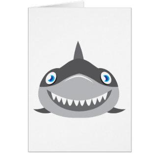 cute happy shark face card