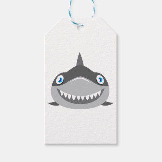 cute happy shark face pack of gift tags