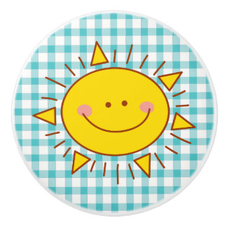 Cute Happy Smiley Sunshine And Plaid Pattern Ceramic Knob