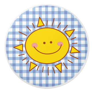 Cute Happy Smiley Sunshine And Plaid Pattern Ceramic Knob