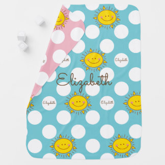 Cute Happy Smiley Sunshine And Polka Dot Pattern Baby Blanket
