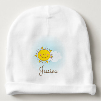 Cute Happy Smiley Sunshine Custom Name Unisex Baby Beanie