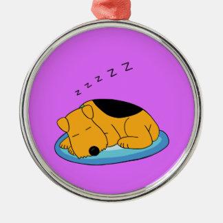 Cute Happy Snoring Airedale Dog Premium Ornament